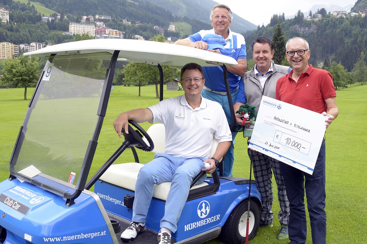 Kurt Molterer (NÜRNBERGER Versicherung AG Österreich), Günther Kerle (Mazda Austria GmbH), Klaus Nadizar (Golfrevue), Mag. Bernhard Denk (Kia Austria GmbH)