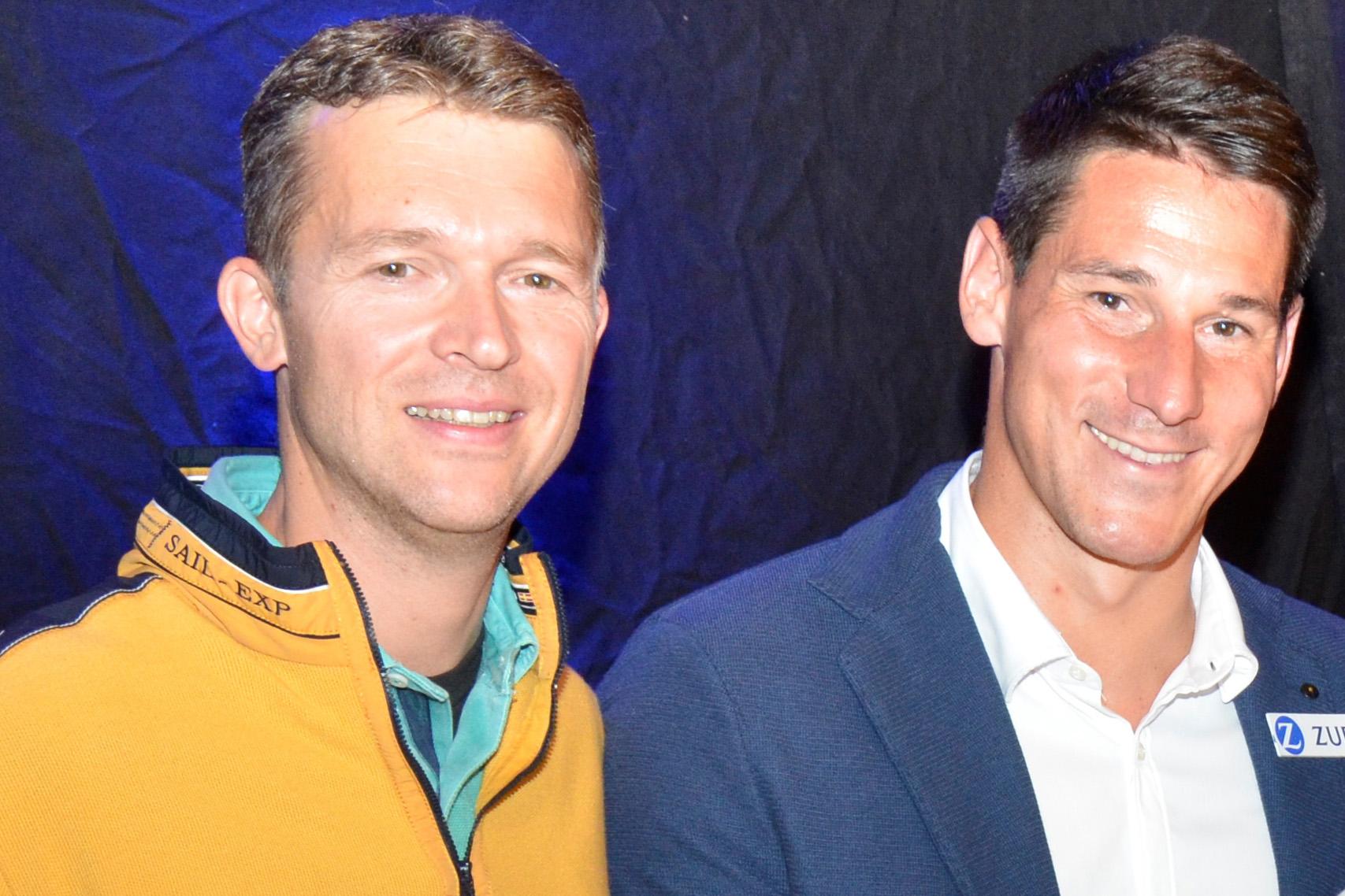 Kurt Möller, Mitglied des Vorstandes, und Helge Payer, Ex-Fußball-Nationalspieler u.sportlicher Markenbotschafter von Zurich